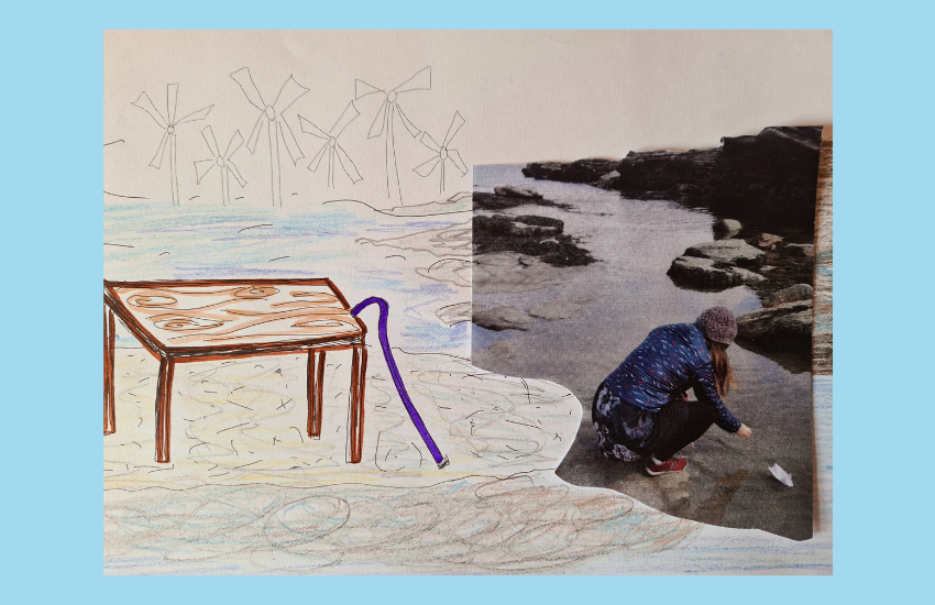 A collage of a pencil drawn seascape, on the beach a table and a purple walking stick, with a photo of Lisette, hunkering down, launching a paper boat.
